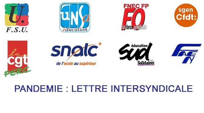 Pandémie : lettre intersyndicale adressée au ministre de l'Éducation nationale le 23 mars 2020