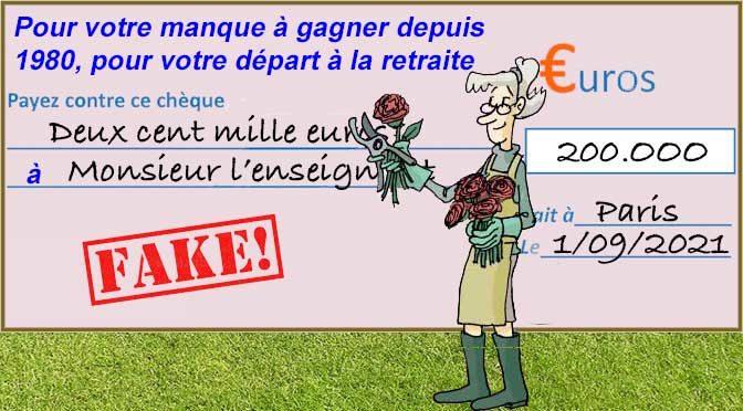 Un chèque de plus de 200.000 euros par enseignant pour la retraite !